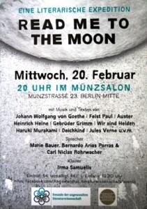 """Veranstaltungsflyer von """"Read Me to the Moon"""""""