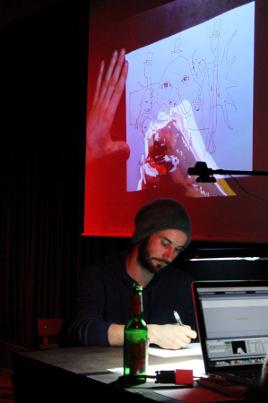 Live-Zeichner Roland auf der Blumenbar-Release-Party